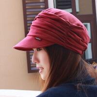 帽子女韩版潮显脸小平顶帽大码帽妈妈帽韩国鸭舌帽春夏贝雷帽布帽 均码