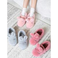 情侣厚底棉拖鞋男 新款女士产后毛绒月子棉鞋 包跟室内可爱家居保暖鞋子