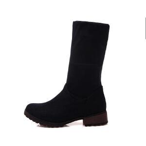 ELEISE美国艾蕾莎新品秋冬189-F17韩版磨砂绒面平跟女士短靴
