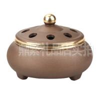 香道用品铜精致黄铜香炉摆件磨砂镂空熏香炉光面檀