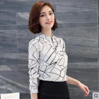 新款韩版印花衬衫女长袖雪纺衫V领白衬衣百搭上衣显瘦寸户外新品网红同款