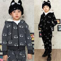 *男童装儿童长袖加绒加厚休闲卫衣套装2018冬款