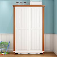 衣柜推拉门 地中海风格卧室趟门衣橱实木柜子 欧式滑移门橡木立柜 推拉门衣柜 2门