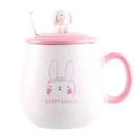 韩版可爱女学生水杯子ins创意潮流陶瓷马克杯带盖勺牛奶杯早餐杯