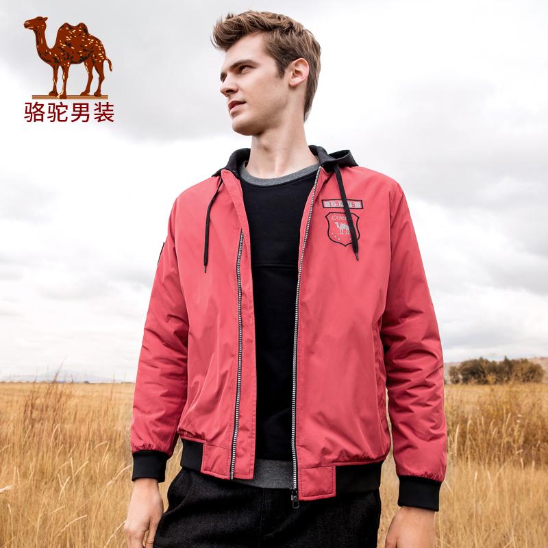 骆驼男装 秋季新款青年纯色可拆帽假两件外套日常休闲夹克男拼接假两件 可脱卸帽