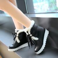 女童靴子冬季皮面防水台儿童短靴加绒系带中大童中学生马丁靴
