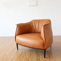 雅舍逸品美式轻奢真皮沙发客厅现代简约休闲老虎椅北欧单人沙发椅