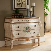 美式彩绘玄关柜欧式做旧斗柜地中海装饰家具三斗柜客厅储物收纳柜 白色 做旧如图 整装