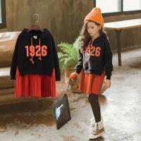 女童中长款卫衣新款冬装韩版连衣裙中大童加绒加厚连帽拼接卫衣裙