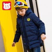 【3件5.5折】小猪班纳童装男童中长款棉衣2018新款冬装连帽棉服儿童加厚棉袄