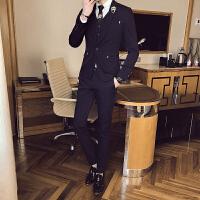 春季新款西服套装男士婚礼服英伦风韩版修身西装三件套时尚潮流