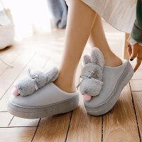 棉拖鞋女包跟居家可爱保暖厚底防滑室内卡通加绒毛毛拖鞋