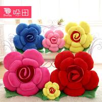 毛绒玩具玫瑰花朵抱枕布娃娃沙发汽车靠垫创意公仔情人节生日礼物