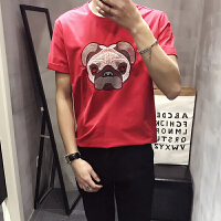本命年 T107 2018港风狗头绣花纯棉韩版修身短袖T恤打底衫