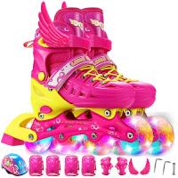 溜冰鞋 儿童全套装  8轮全闪光旱冰鞋 可调伸缩轮滑鞋 男女宝宝直排轮 小孩单排轮