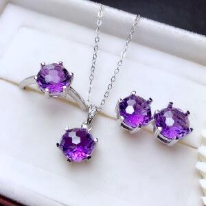 紫水晶套装深邃紫烟花切工爆闪火彩