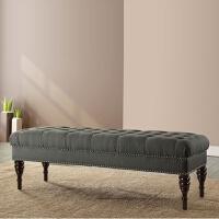 实木欧式布艺沙发凳门厅试换鞋凳服装店穿鞋长凳美式床前凳床尾凳