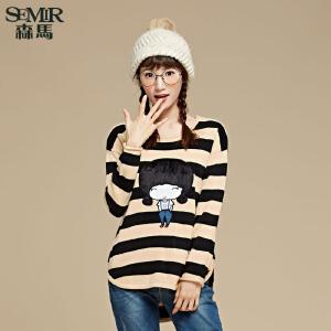 森马毛衣 冬装 女士条纹圆领毛衫套头线衫休闲针织衫韩版