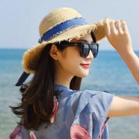 小清新防晒韩版遮阳太阳帽拉菲草帽子女海边出游百搭沙滩草帽