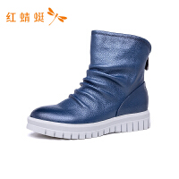 红蜻蜓女鞋秋冬款时尚马丁靴百搭皮面舒适短筒靴子休闲短靴-