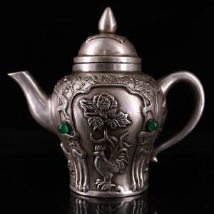 ?纯铜鎏银镶嵌宝石 酒壶