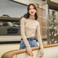 茵曼高领毛衣女内搭冬季新款长袖纯色修身显瘦打底衫基础款【1804185】
