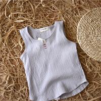 儿童小背心夏男女童透气棉体恤宝宝无袖T恤休闲夏装儿童亚麻小衫