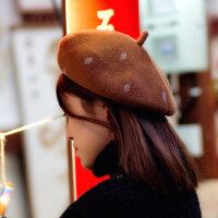 贝雷帽子女羊毛复古百搭毛呢画家帽韩版气质文艺蓓蕾帽