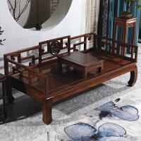 罗汉床实木中式榆木沙发组合简约现代仿古多功能家具古典禅意榻塌 宽150长200罗汉床+炕几 多色可选 1.2米