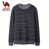 骆驼男装 秋季新款青年时尚圆领套头提花针织日常休闲毛衣男