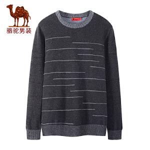 骆驼男装 2018秋季新款青年时尚圆领套头提花针织日常休闲毛衣男