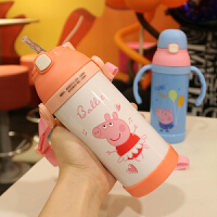 新款可爱卡通儿童吸管杯手柄背带两用便携带不锈钢保温饮水果汁杯