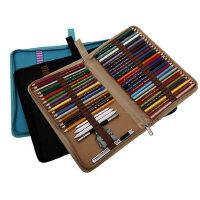 折叠式帆布笔袋素描彩色铅笔笔帘学生美术工具对折拉链收纳包插笔随身便携分类整理笔盒