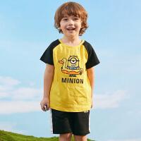 【2件3折价:82】小猪班纳童装男童夏装套装儿童宝宝T恤短裤两件套