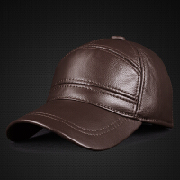 真皮帽子男士秋季冬天头层牛皮帽子潮棒球帽休闲皮帽子中老年男帽
