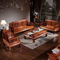实木沙发组合新中式木冬夏两用仿古客厅菠萝格古典家具 组合