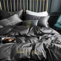 网红款冰丝四件套欧式丝滑床单被套夏季水洗真丝三件套床上用品4