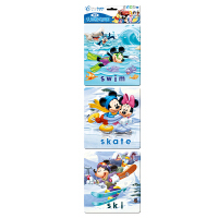 Disney 迪士尼拼图 迷你认知小框拼图 儿童益智玩具 我爱运动 3图双混 DP01-09-01