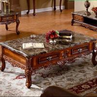 欧式茶几大理石面简约客厅小户型实木电视柜组合套装美式整装茶桌 整装