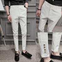气质夏季男士修身弹力小脚裤英伦休闲裤西裤九分裤9分发型师裤子