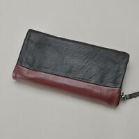 山羊皮长款钱包 设计师撞色手拿包 摇滚手机包钱夹 酒红色
