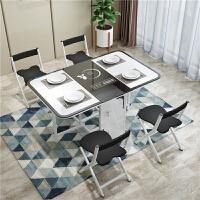 小户型多功能伸缩带电磁炉折叠餐桌椅组合铁艺钢化玻璃家用长方形