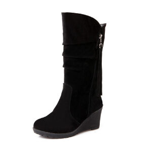 ELEISE美国艾蕾莎新品秋冬183-188-2韩版磨砂绒面坡跟女士女靴中筒靴