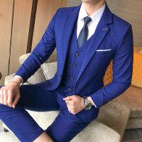 发型师西服套装男士三件套韩版修身小西装职业正装新郎结婚礼服潮
