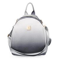 多功能双肩包女2018新款韩版清新变色女士小背包休闲软皮质斜跨包 灰色