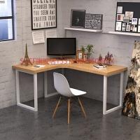 实木转角电脑桌北欧简约L型书桌家用 双人办公桌家具写字桌工作台