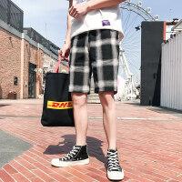 2018夏季直筒格子短裤男款韩版潮流修身小脚五分哈伦中裤 B335-K37-48格子色
