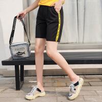 夏季松紧腰显瘦五分裤女胖MM大码中腰条纹黑色阔腿裤