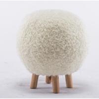 创意实木凳子北欧球形小凳子可拆洗设计师家具布艺时尚矮凳梳妆凳