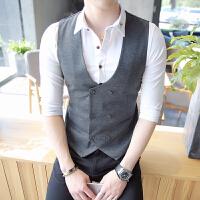 韩版潮流男士夜场DJ发型师双排扣马甲外衣男士修身百搭少爷工作服